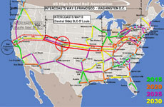 High Speed Network in the United States (USHSRS) - Intercoasts Way San Francisco-Washington D.C. (Central Side)